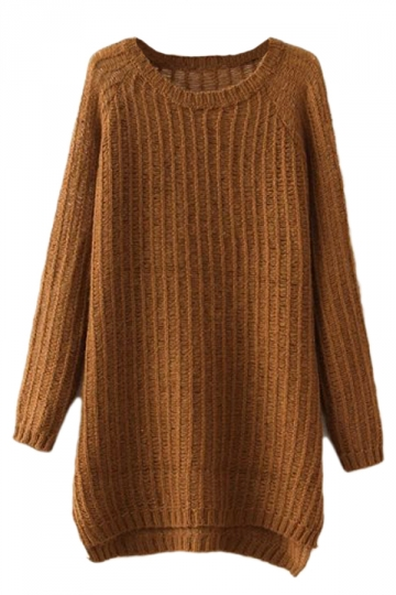 Khaki Charming Ladies Slit Plain Pullover Long Sweater
