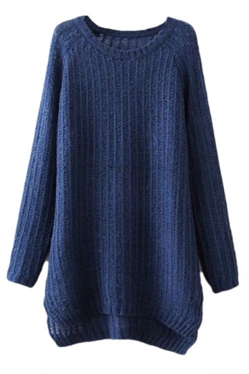 Navy Blue Charming Ladies Slit Plain Pullover Long Sweater - PINK ...