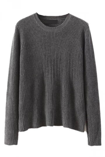 Gray Fashion Womens Simple Long Sleeve Plain Pullover Sweater