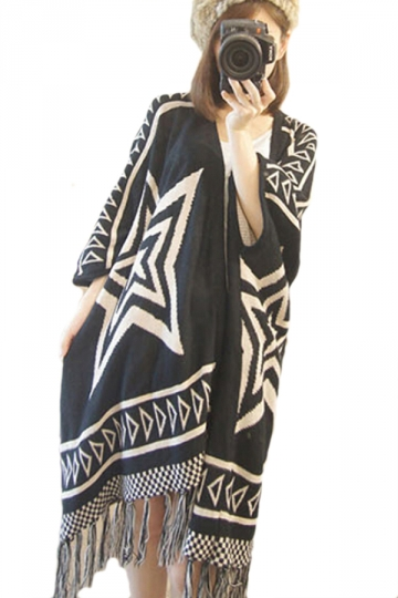 Black Pretty Ladies Totem Patterned Oversized Cardigan Sweater