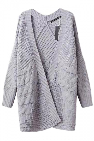 Gray Pretty Womens Casual Cable Knitted Plain Cardigan Sweater