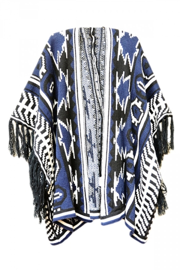 Navy Blue Womens Fringe Color Block Oversized Cardigan Sweater