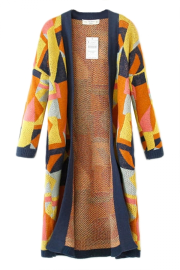 Yellow Pretty Womens Geometric Jacquard Long Sweater Coat