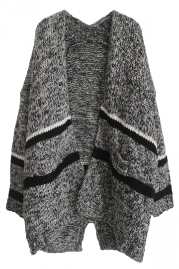 Gray Pretty Ladies Thick Color Block Oversized Cardigan Sweater