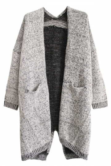 Gray Trendy Womens Slit Long Cape Patterned Cardigan Sweater