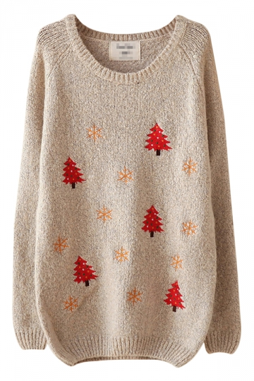 Gray Funny Womens Crew Neck Pullover Tree Ugly Christmas Sweater