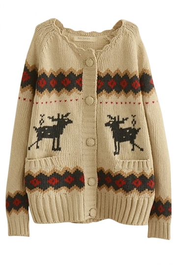 Beige Womens Knitted Cardigan Reindeer Ugly Christmas Sweater