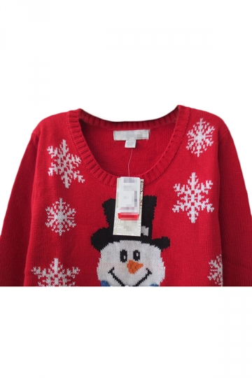 Red Cute Womens Crew Neck Pullover Snowman Ugly Christmas Sweater