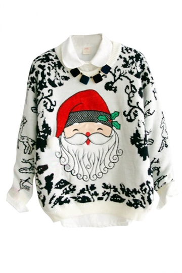 White Santa Crew Neck Pullover Ugly Christmas Sweater