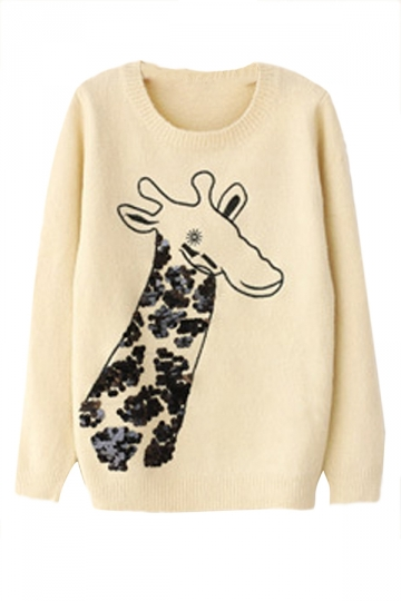 Dehair Angora Crew Neck Sequin Giraffe Patterned Pullover Sweater
