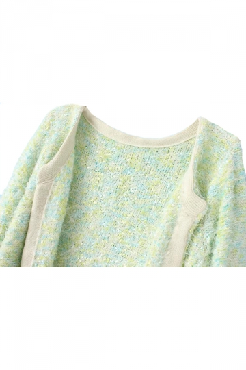 Green Elegant Ladies Plain Mohair Patterned Cardigan Sweater