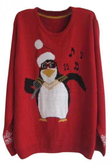 Red Crew Neck Pullover Penguin in Hat Ugly Christmas Sweater