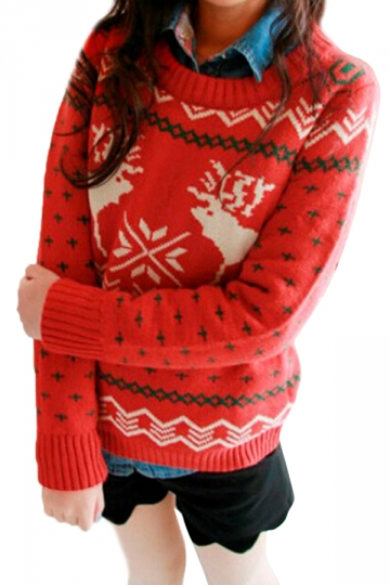 Red Ladies Crew Neck Reindeer Pullover Ugly Christmas Sweater