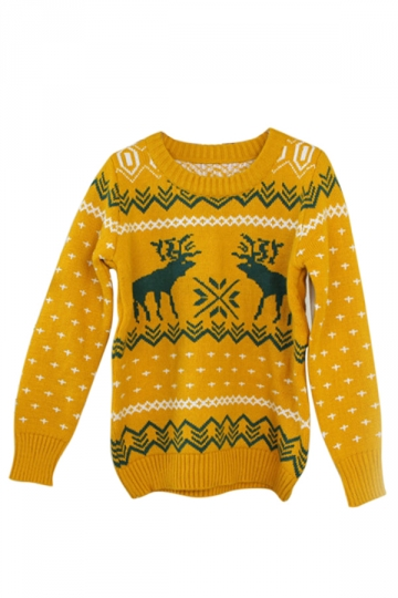 Yellow Ladies Crew Neck Reindeer Pullover Ugly Christmas Sweater