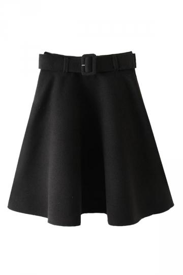 Black Trendy Womens Charming Tweed Pleated Skirt