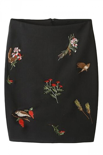 Black Casual Sexy Ladies Flowers Embroidered Pencil Skirt