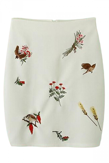 White Casual Sexy Ladies Flowers Embroidered Pencil Skirt