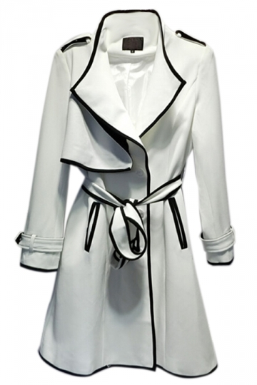 White Womens Office Lady Tie Belt Color Block Trench Coat