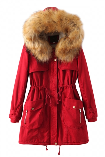 Red Chic Womens Warm Plain Fur Hooded Tunic Parka Coat - PINK QUEEN