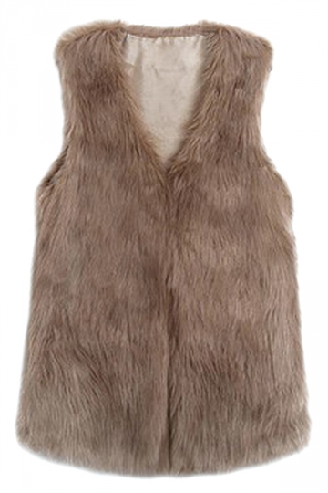 Khaki Charming Ladies Faux Fur Warm Winter Vest