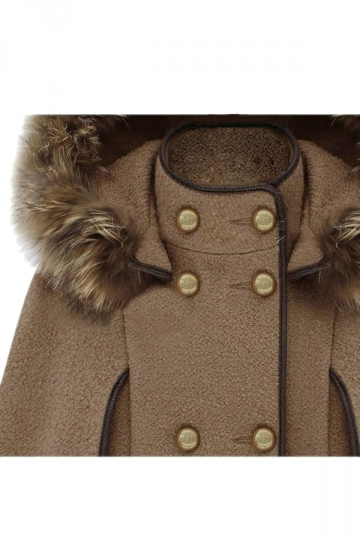 Khaki Ladies Cute Warm Winter Tweed Poncho Hooded Pea Coat