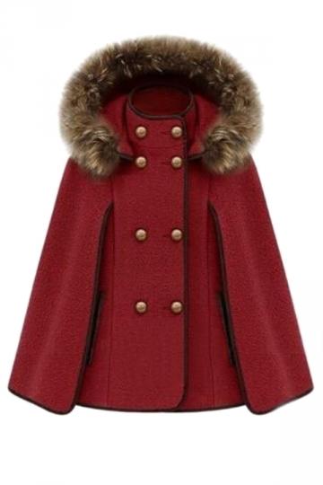 Red Ladies Cute Warm Winter Tweed Poncho Hooded Pea Coat