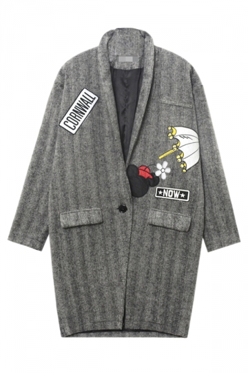 Gray Modern Womens Embroidery Mouse Umbrella Printed Over Coat
