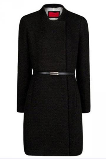 Black Womens Vintage Long Sleeves Warm Winter Over Coat