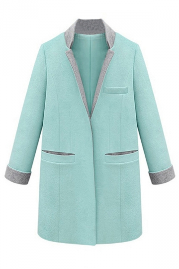Turquoise Womens V Neck Stand Collar Casual Warm Tweed Coat