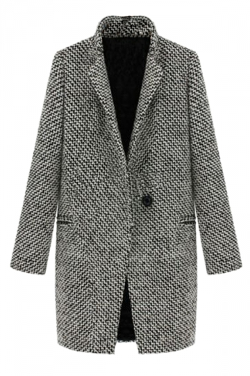 Gray Modern Womens Swallow Gird Stand Collar Woolen Over Coat