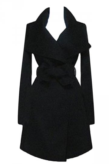 Black Ladies Plain Turndown Collar Wool Tiebelt Wrap Coat