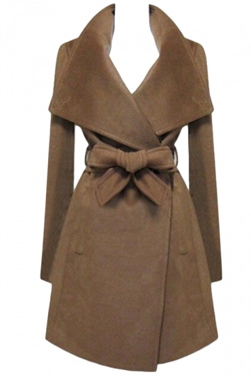 Coffee Ladies Plain Turndown Collar Wool Tiebelt Wrap Coat