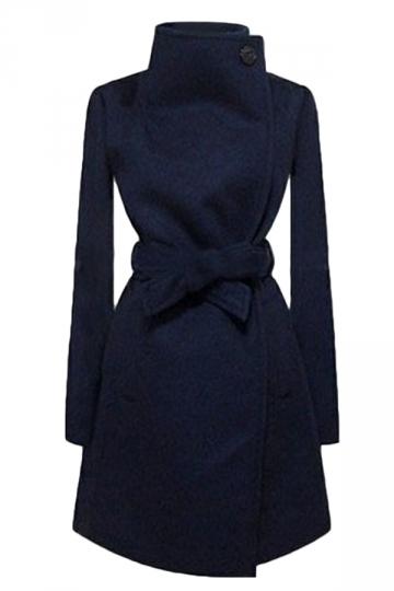 Navy Blue Ladies Plain Turndown Collar Wool Tiebelt Wrap Coat