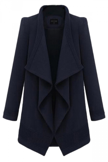 Navy Blue Fashion Womens Turndown Collar Plain Tiebelt Tweed Coat