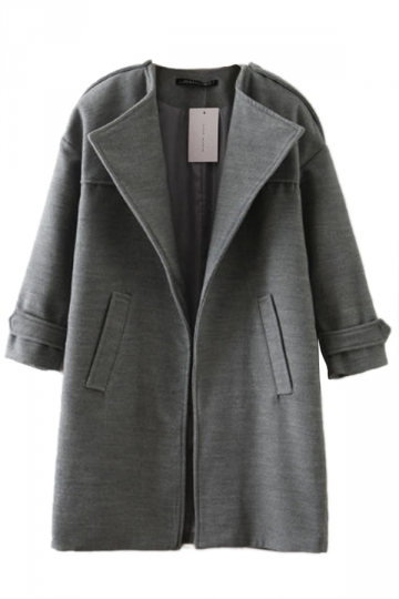 Gray Casual Ladies Loose Plain Modest Wool Coat