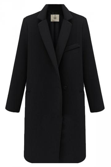 Black Warm Winter Ladies Lapel Thick Plain Wool Long Coat