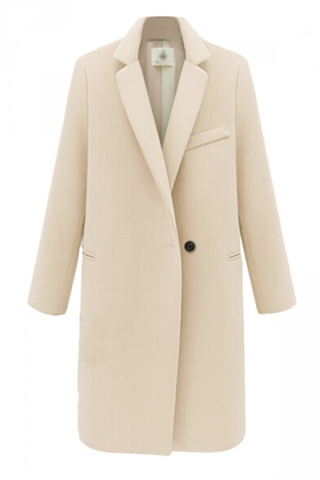 Beige Warm Winter Ladies Lapel Thick Plain Wool Long Coat