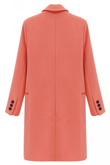 Pink Warm Winter Ladies Lapel Thick Plain Wool Long Coat