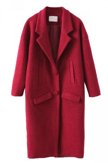 Ruby Elegant Ladies Turndown Collar Plain Tweed Long Coat
