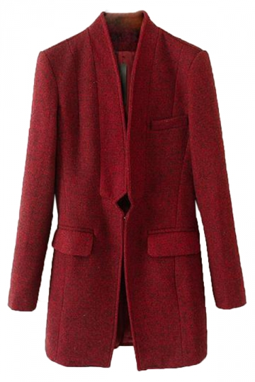 Ruby Stylish Ladies Plain Winter Warm Buttonless Tweed Long Coat