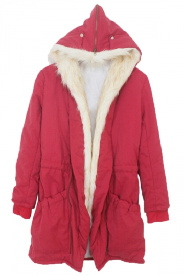 Red Ladies Cotton Warm Hooded Faux Fur Casual Over Coat