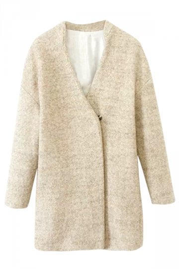 Beige Chic Womens Plain Wrap Winter Warm Tweed Coat