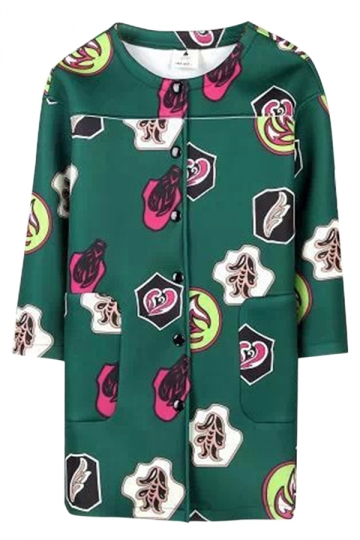Green Chic Womens Crew Neck The Atmosphere Printed Over Coat