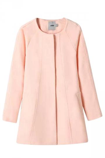 Pink Elegant Womens Winter Crew Neck Plain Tweed Coat