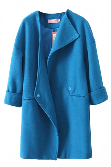 Blue Pretty Womens Turndown Collar Wool Over Coat