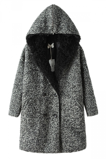 Gray Ladies Turndown Collar Zip Plain Warm Hooded Tweed Coat