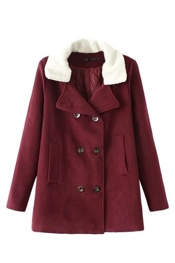 Ruby Sexy Ladies Lamb Wool Winter Warm Plain Wool Pea Coat