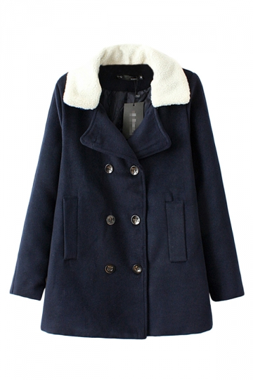 Navy Blue Sexy Ladies Lamb Wool Winter Warm Plain Wool Pea Coat