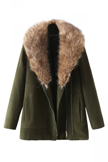 Green Modern Ladies Plain Zip Warm Fur Wool Over Coat