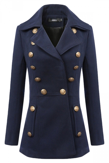 Navy Blue Cool Womens Turndown Collar Warm Tweed Pea Coat